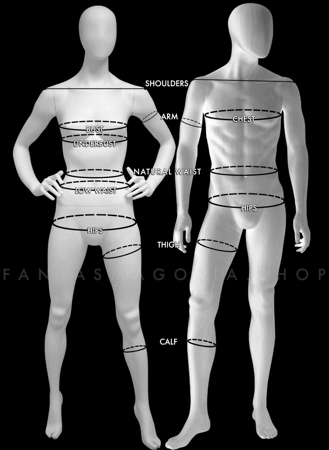 Female and Male mannequin bodies