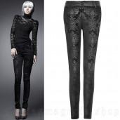 women's Black Damask Trousers by PUNK RAVE brand, code: K-166