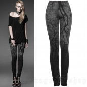 women's Black Metal Leggings by PUNK RAVE brand, code: K-181