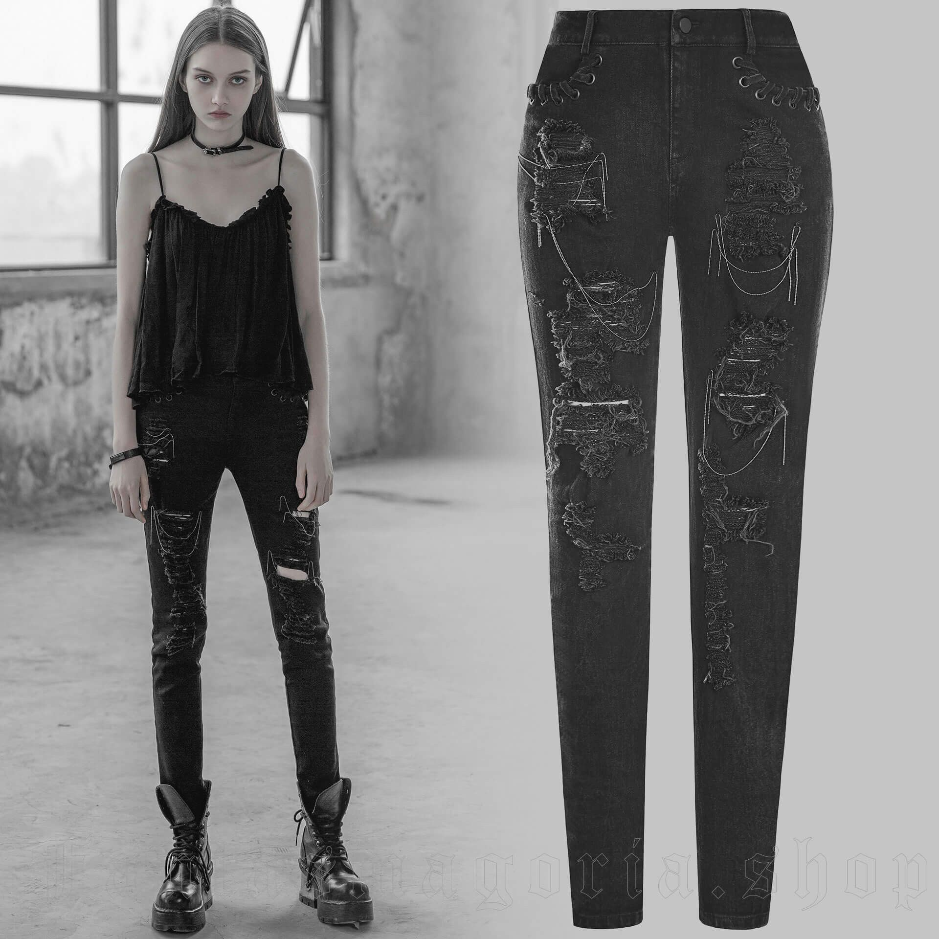 women's Girl Stalker Trousers by PUNK RAVE brand, code: OPK-209
