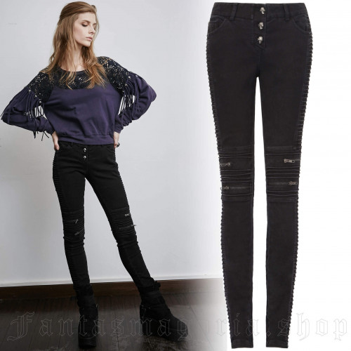 women's Black Wire Trousers by PUNK RAVE brand, code: PK-069