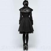 women's Black Fox Coat by PUNK RAVE brand, code: LY-064