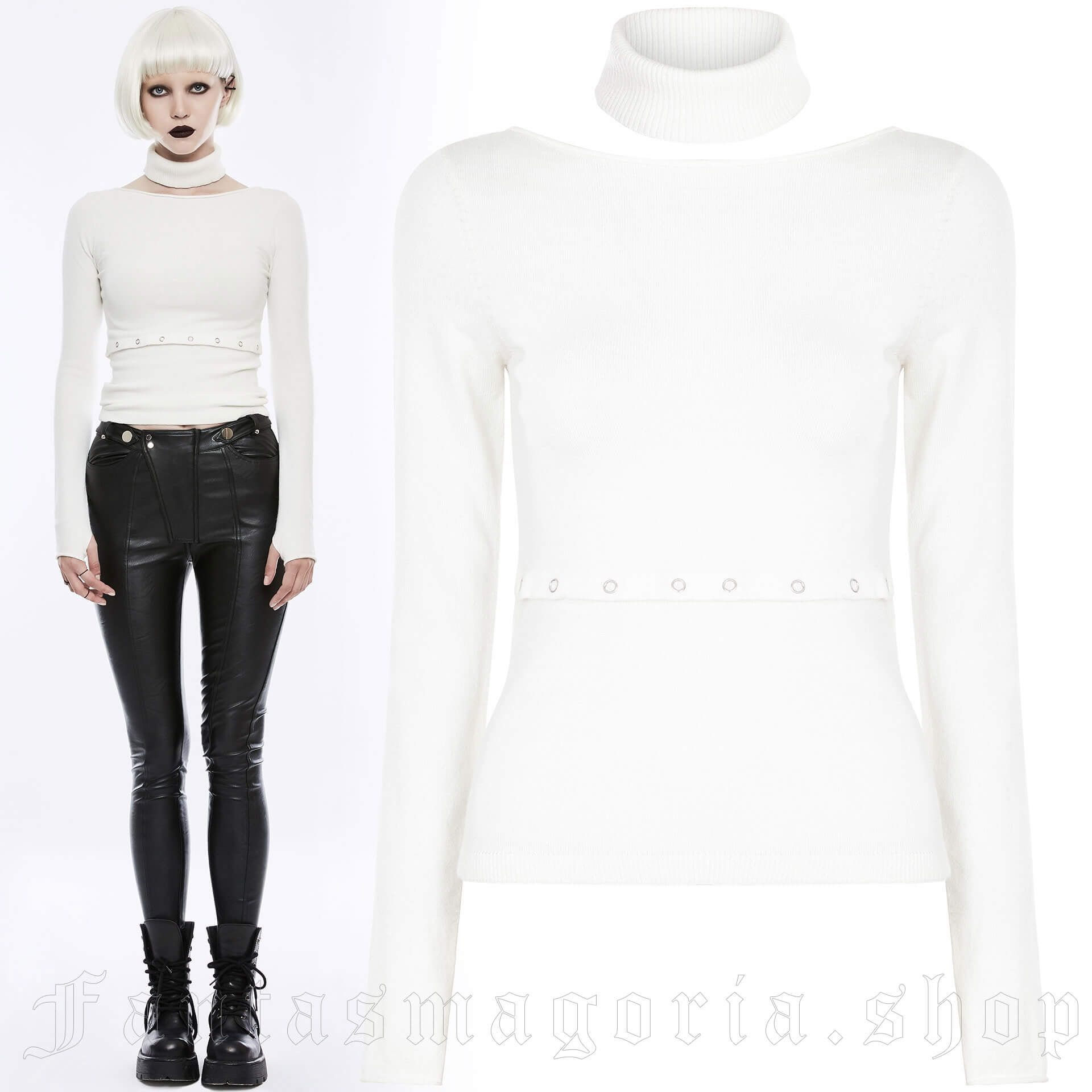 women's Lunaria Top by PUNK RAVE brand, code: OPM-071/WH