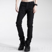 men's Black Engine Trousers by PUNK RAVE brand, code: K-154