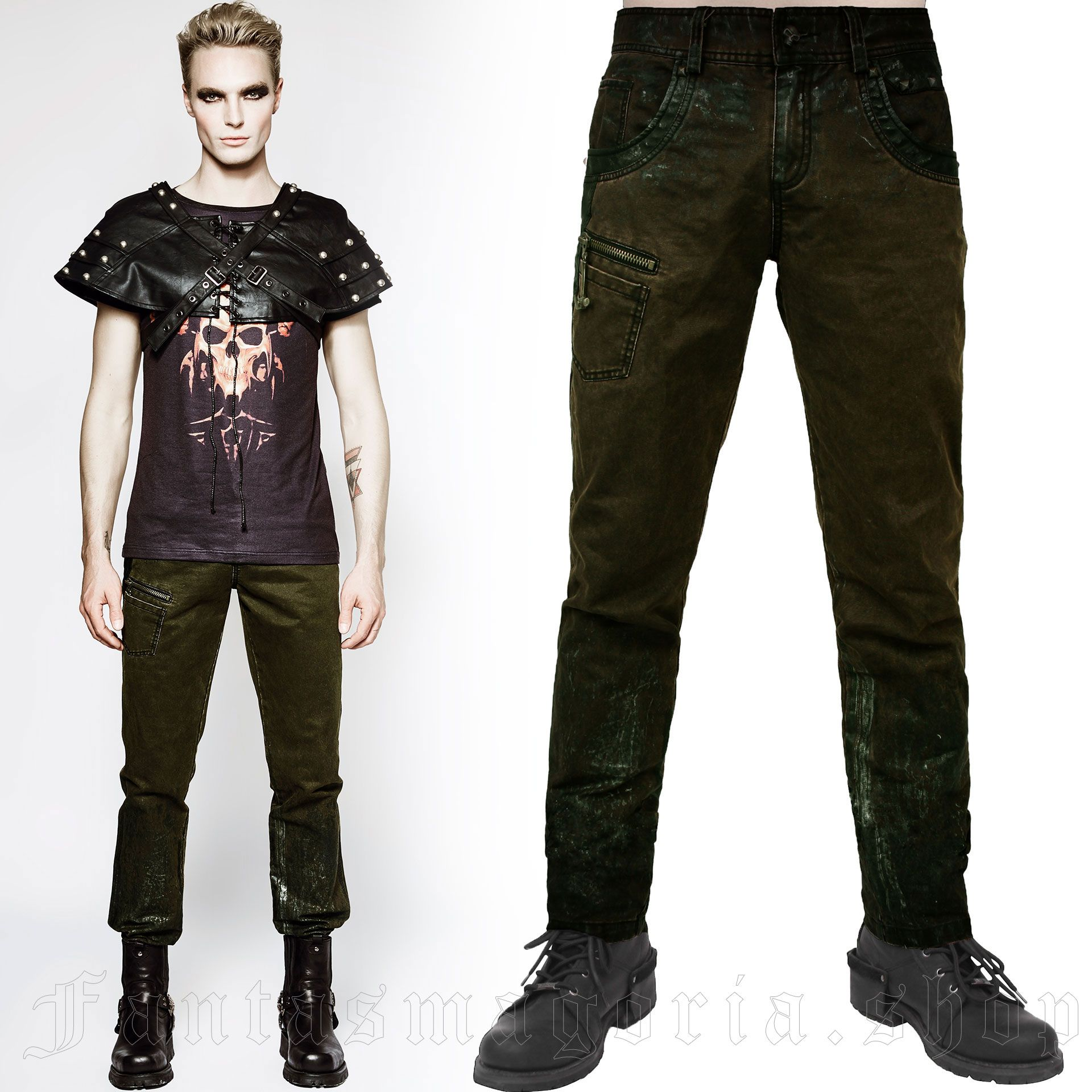 men's Wasteland Trousers by PUNK RAVE brand, code: K-199/GR