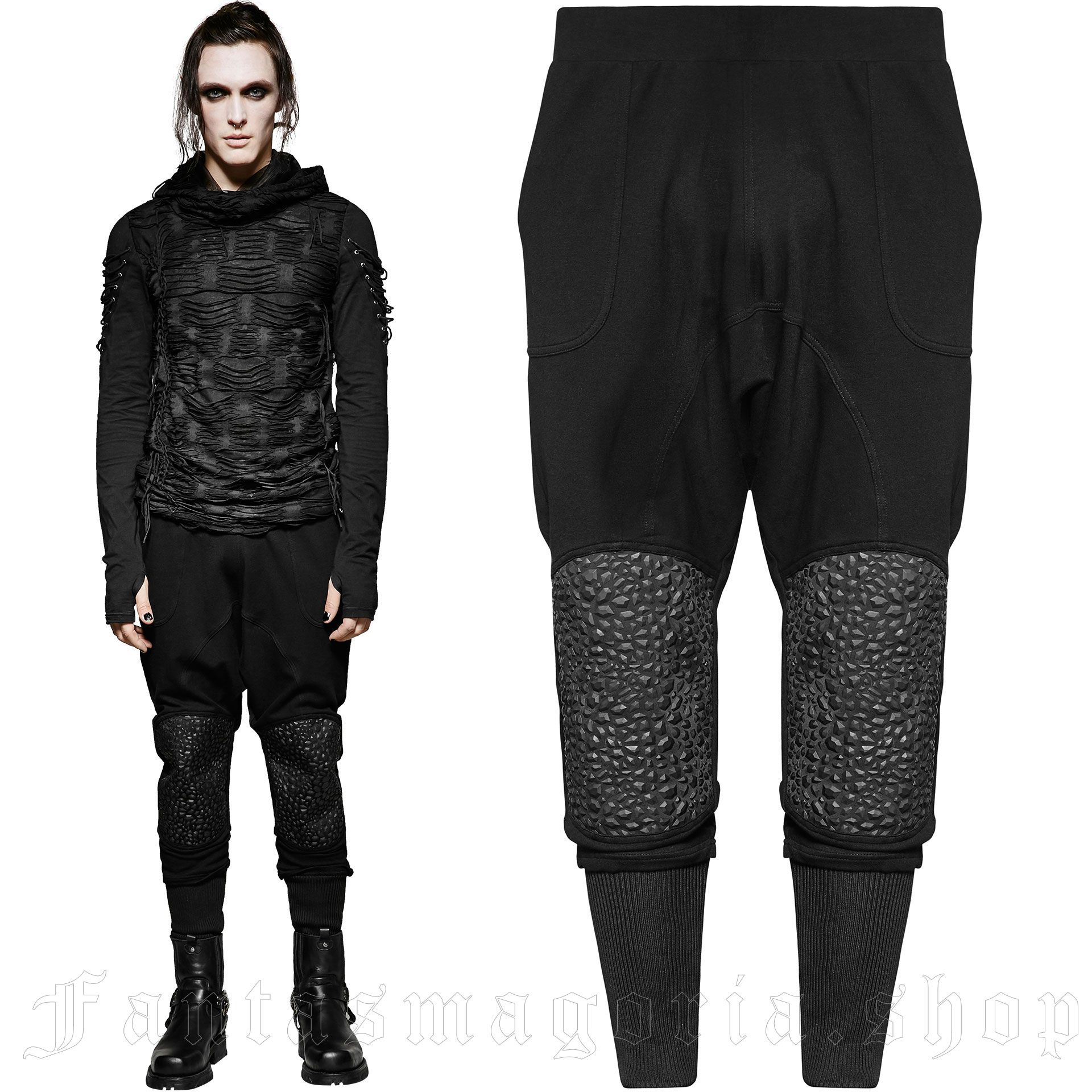 men's Black Martyr Trousers by PUNK RAVE brand, code: K-267