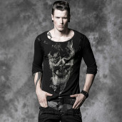 men's Black Visions Longlseeve Top by PUNK RAVE brand, code: T-325