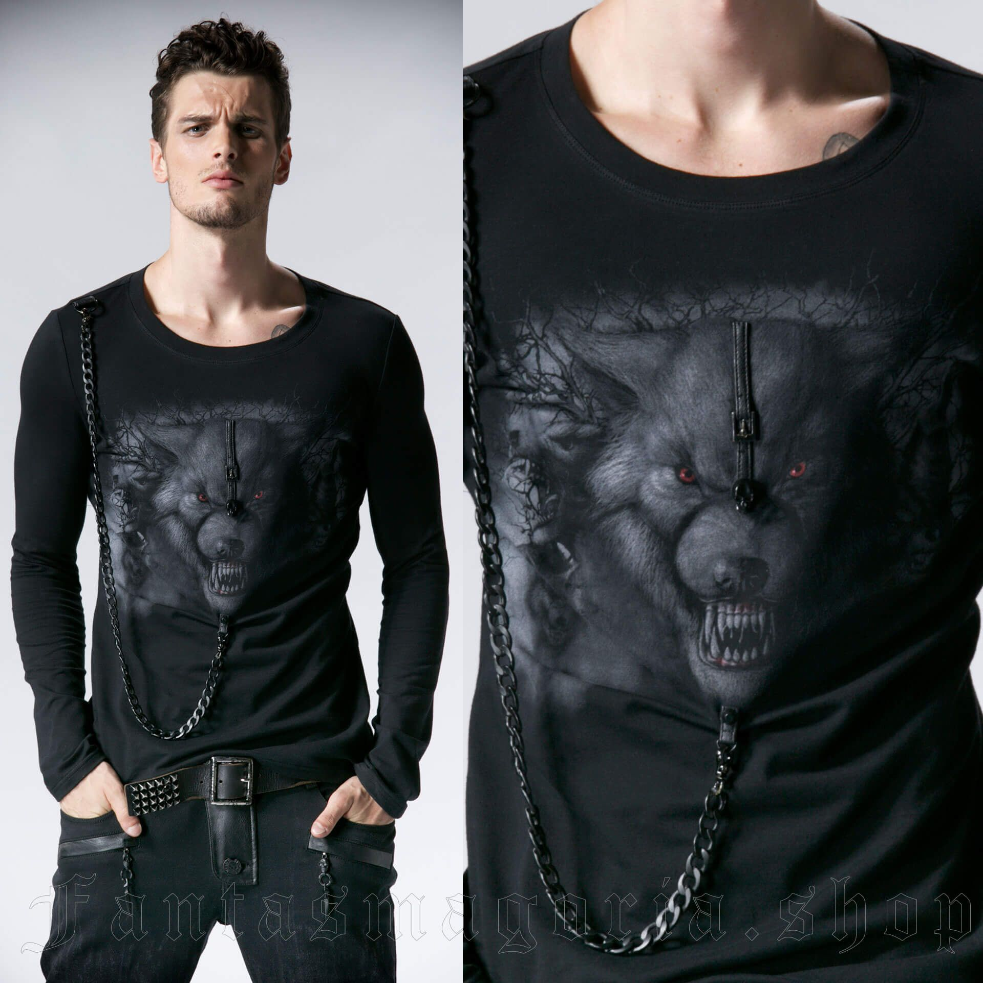 men's Werewolf Longsleeve Top by PUNK RAVE brand, code: T-365