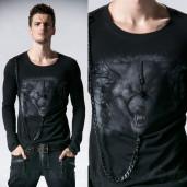 men's Werewolf Longsleeve Top by PUNK RAVE brand, code: T-365