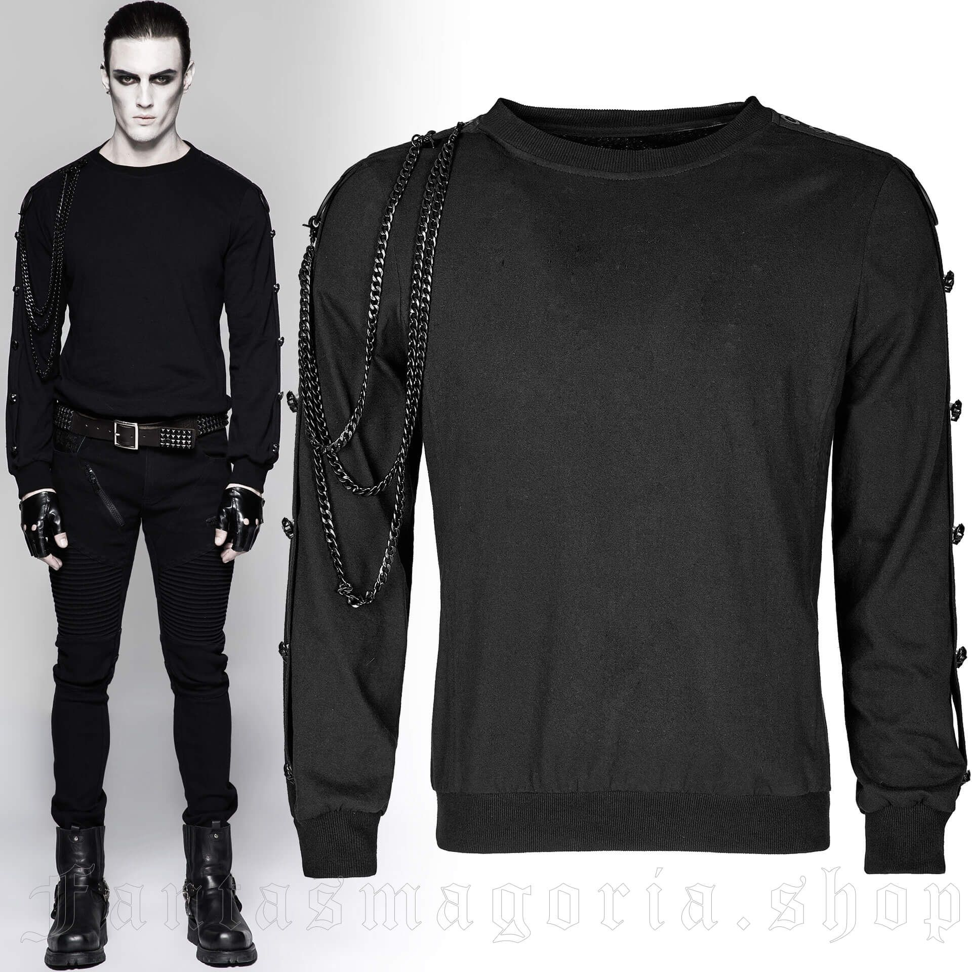 men's Skulls&Chains Longsleeve Top by PUNK RAVE brand, code: T-469