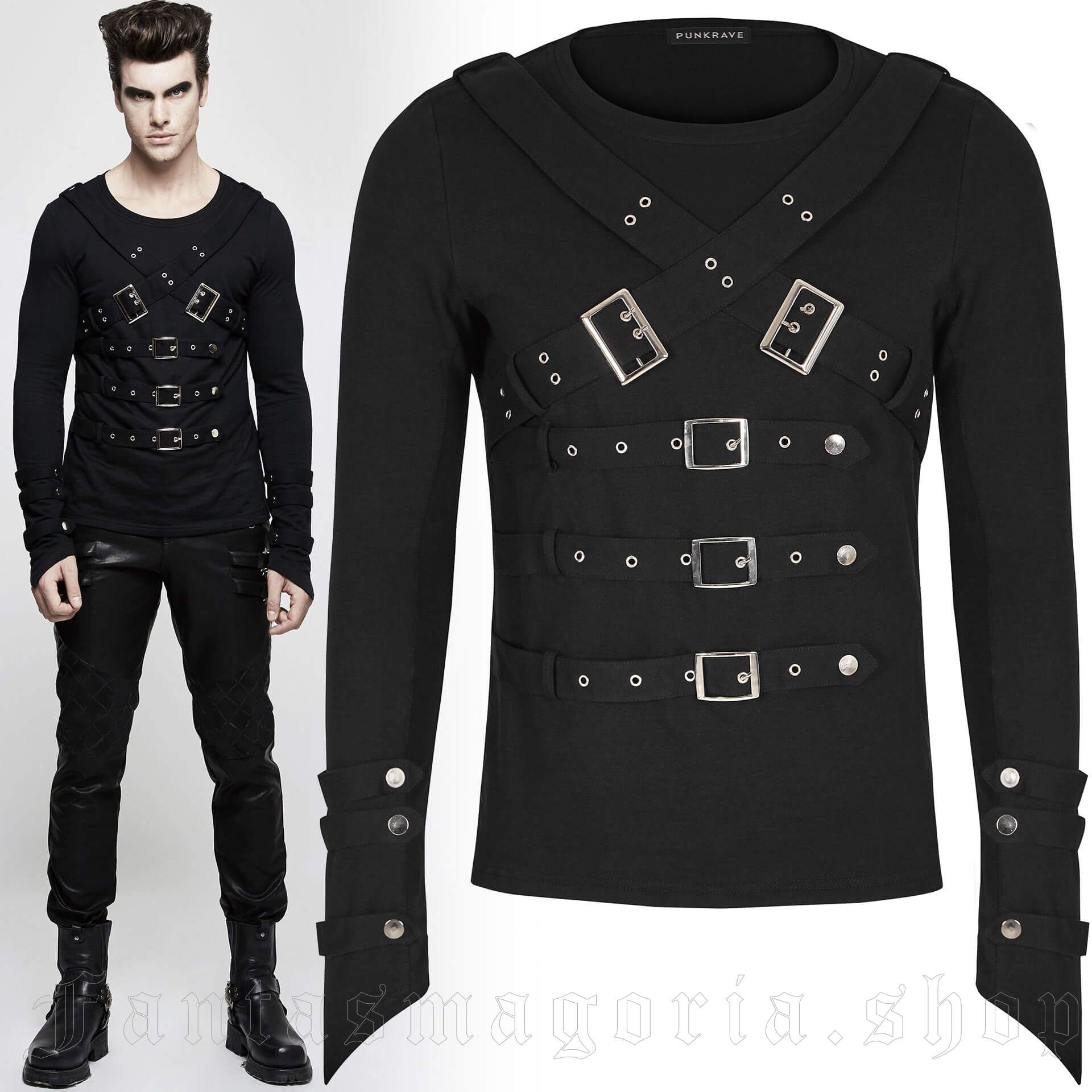 men's Bast Bondage Longlseeve Top by PUNK RAVE brand, code: T-486