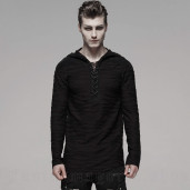 men's Black Current Longsleeve Top by PUNK RAVE brand, code: WT-580