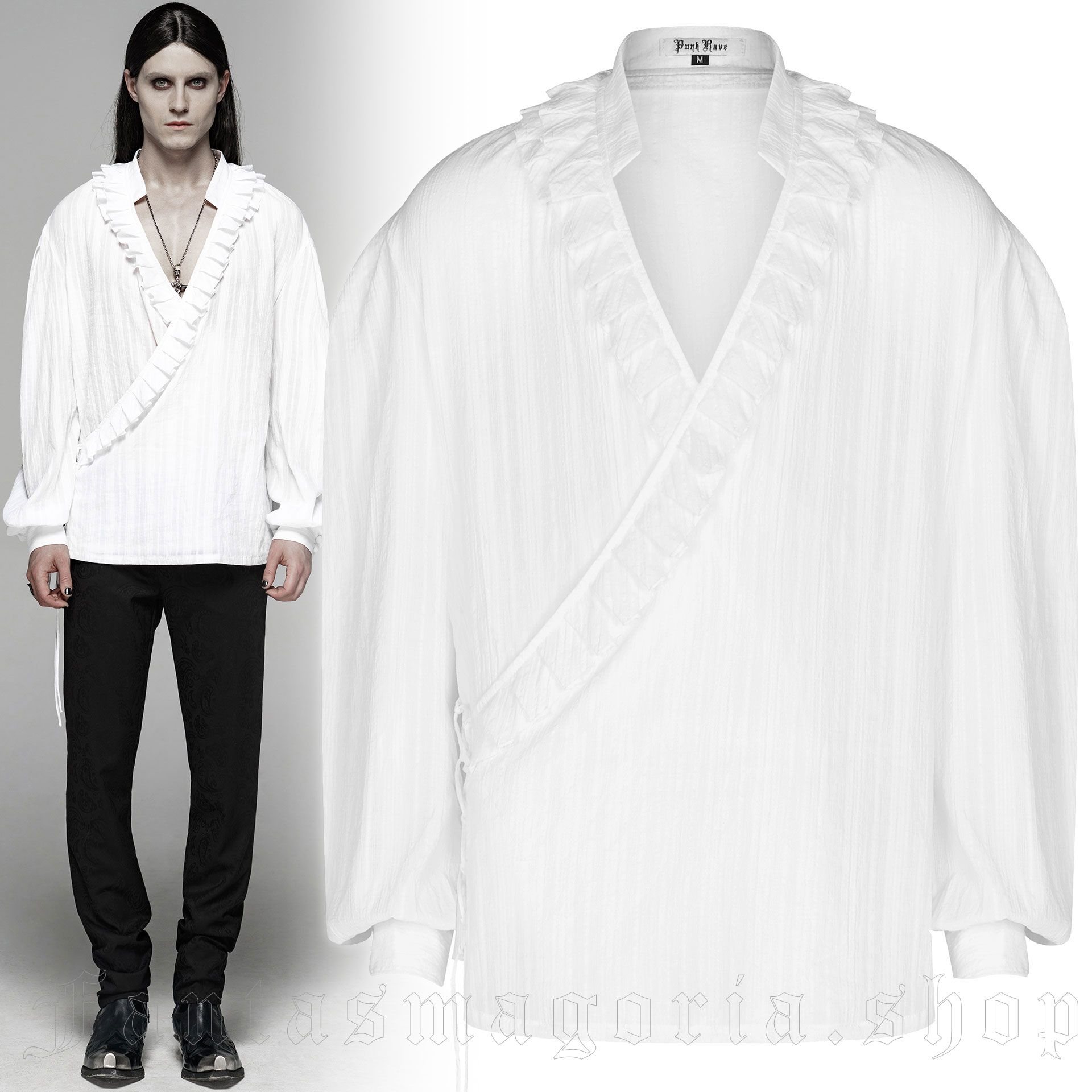 men's Noctivagus Shirt by PUNK RAVE brand, code: WY-1113/WH