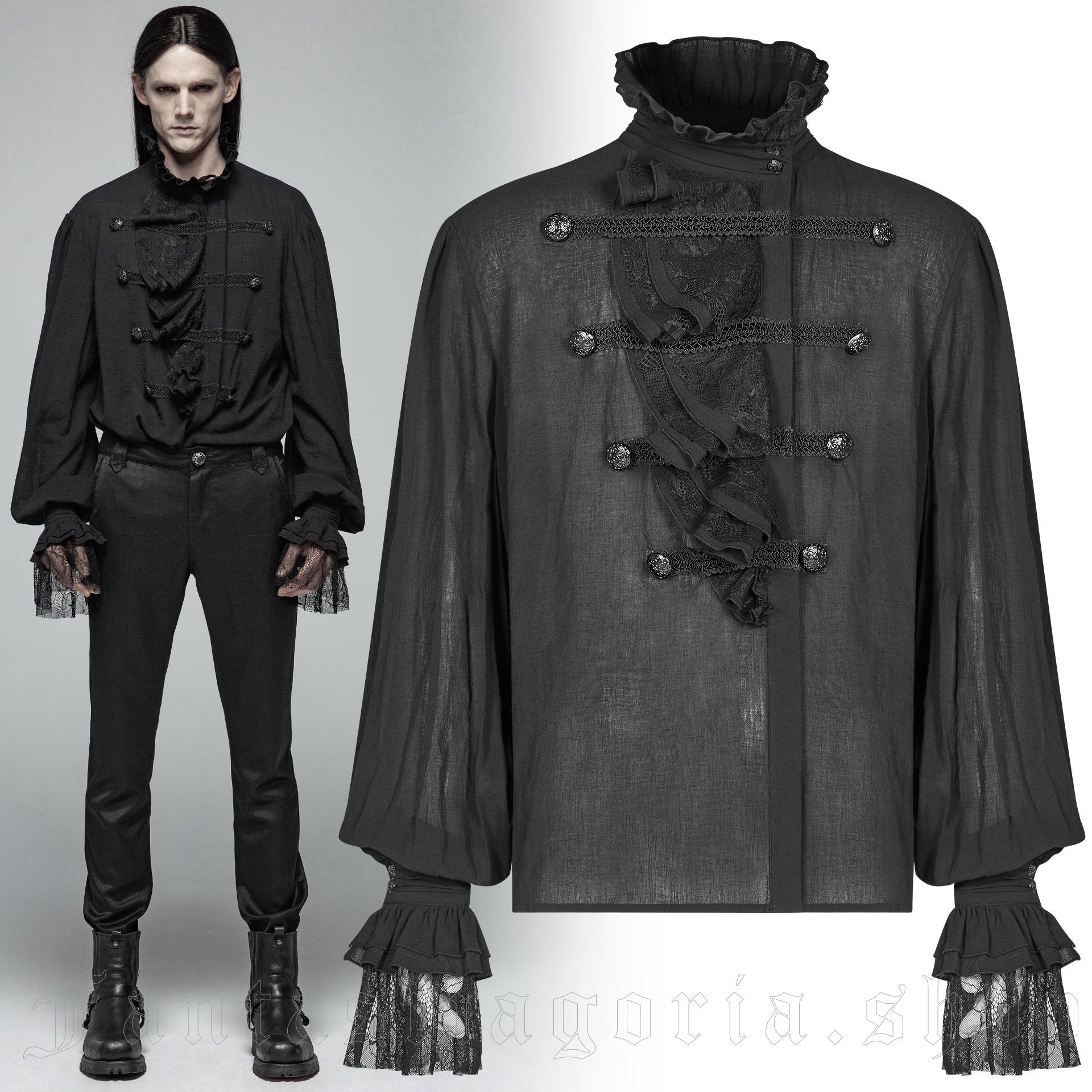 men's Roque Baroque Shirt by PUNK RAVE brand, code: WY-1031/BK