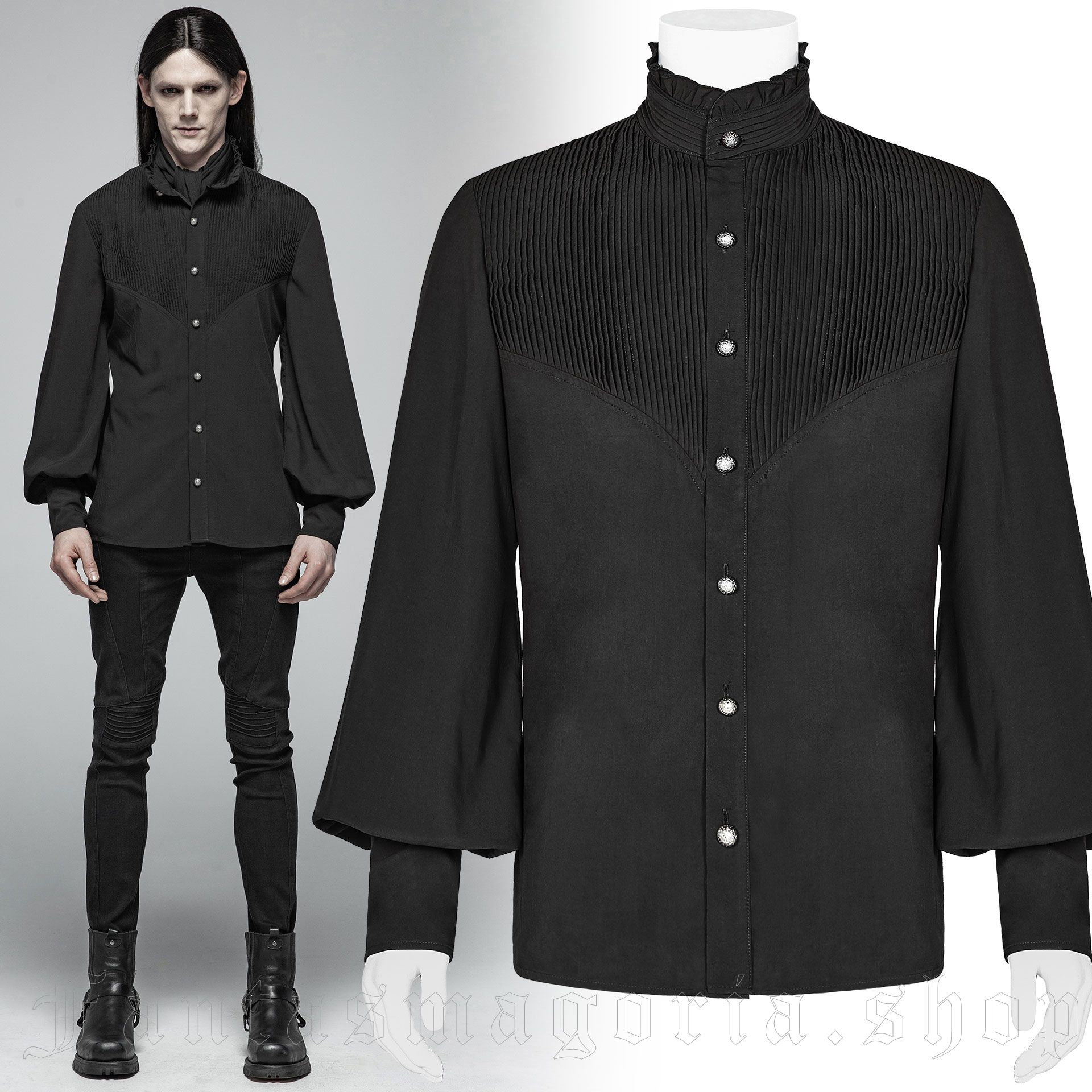 men's Charon Shirt by PUNK RAVE brand, code: WY-1029/BK