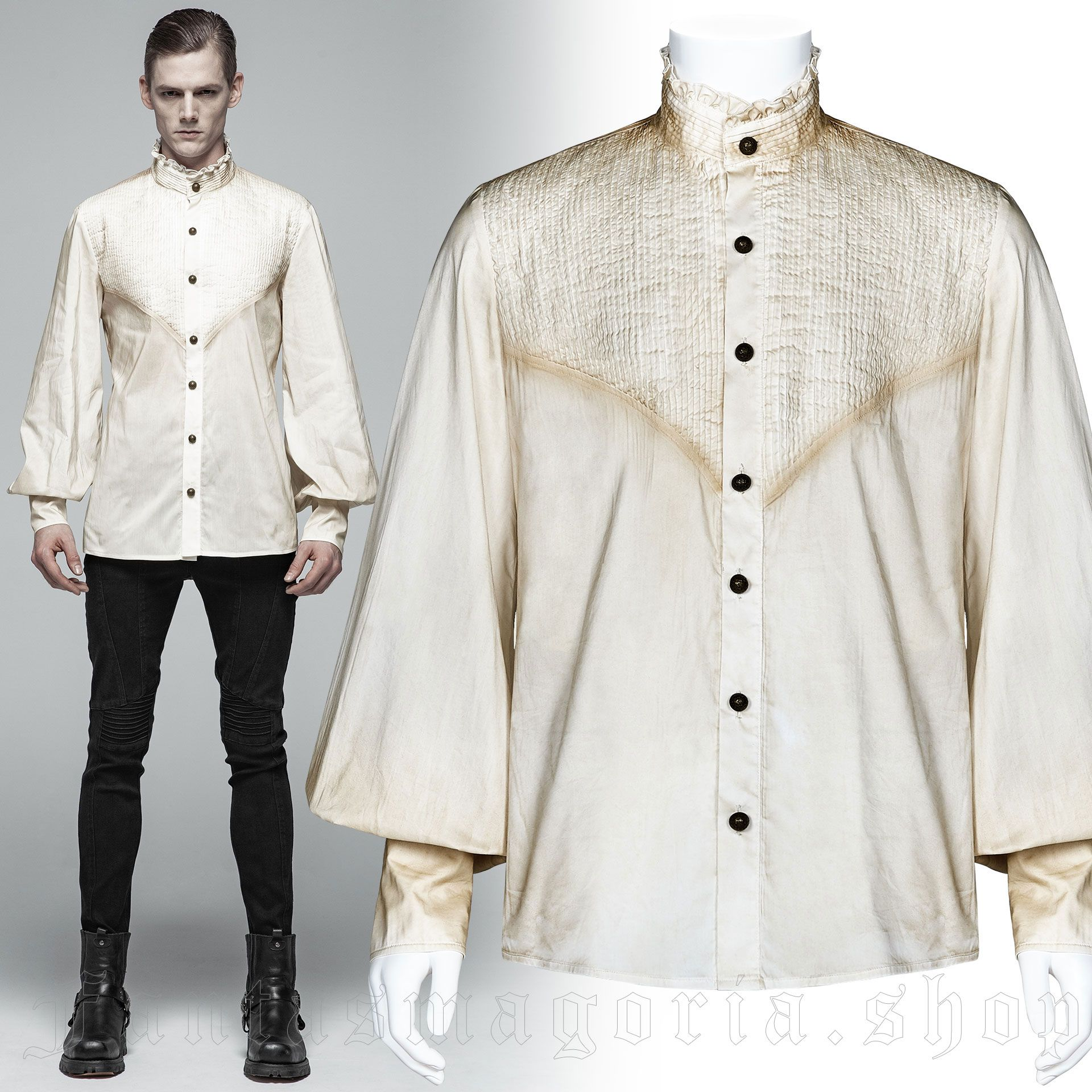men's Charon Shirt by PUNK RAVE brand, code: WY-1029/WH