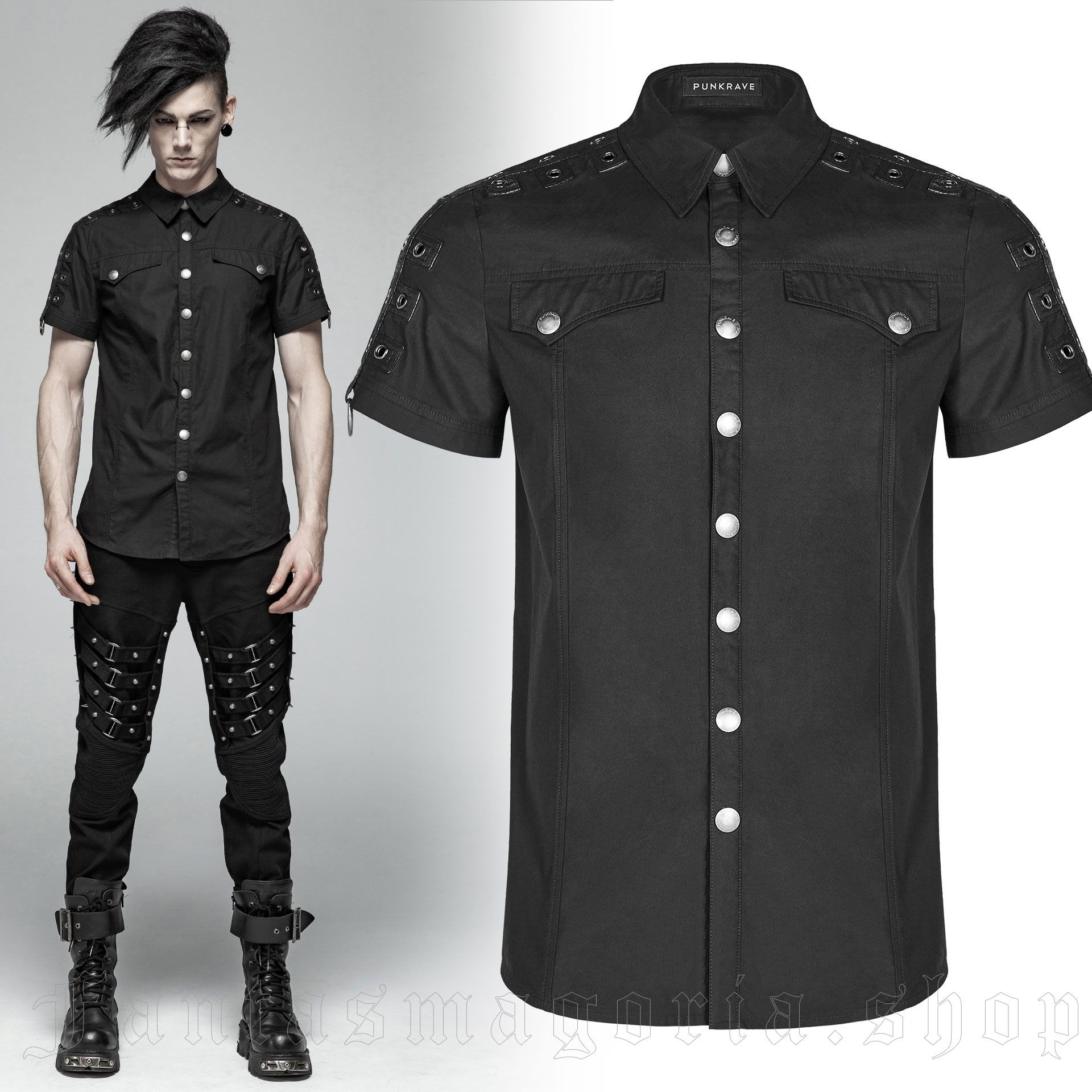 men's Marduk Shirt by PUNK RAVE brand, code: WY-1012