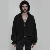 men's Florian Shirt by PUNK RAVE brand, code: WY-852/BK