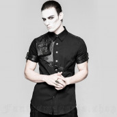 men's Aviator Shirt by PUNK RAVE brand, code: Y-757/BK