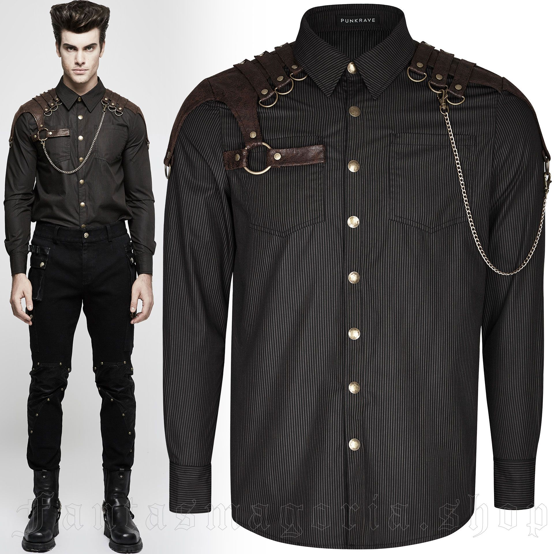men's Sweeney Todd Shirt by PUNK RAVE brand, code: Y-819/CO
