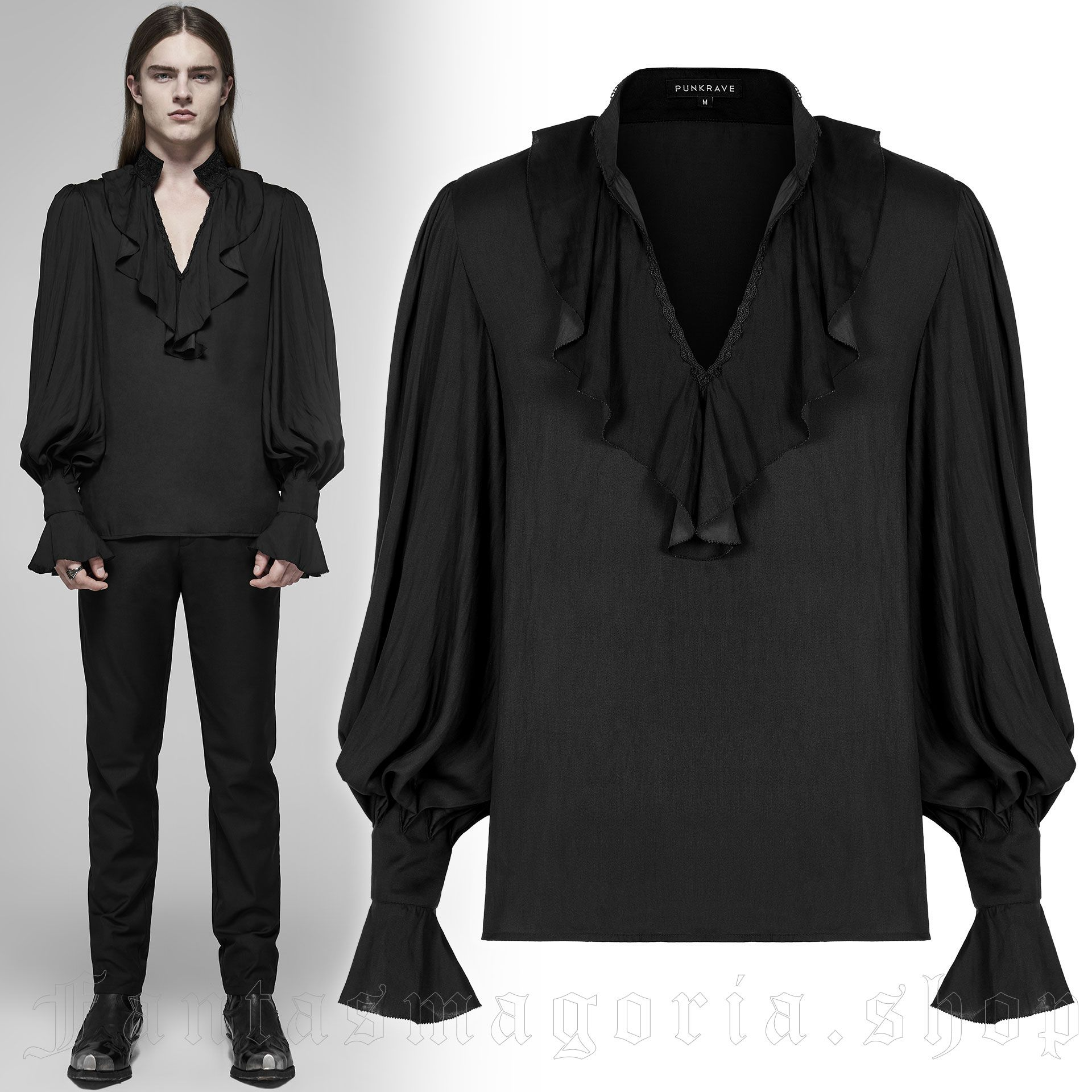 men's Silvanus Shirt by PUNK RAVE brand, code: WY-1152/BK