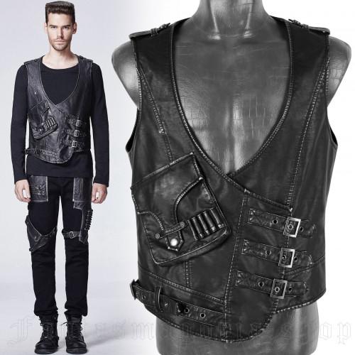 men's The Hunter Vest by PUNK RAVE brand, code: Y-598/BK-SI