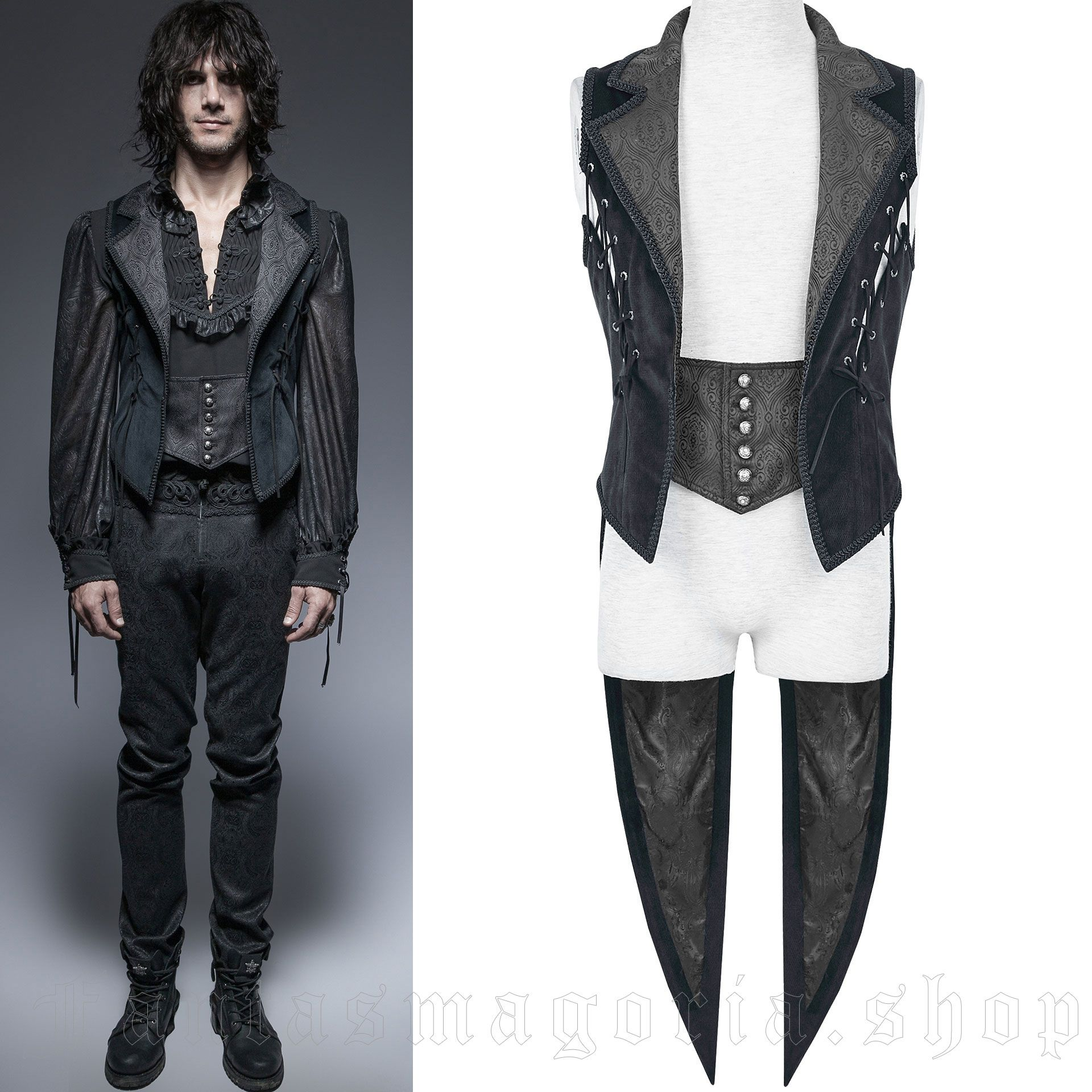 men's Azaroth Waistcoat by PUNK RAVE brand, code: Y-648/BL