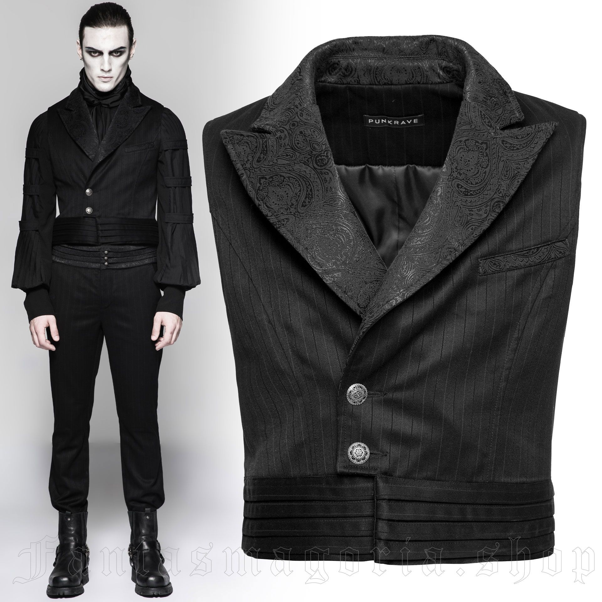 men's Viserion Vest by PUNK RAVE brand, code: Y-743/BK