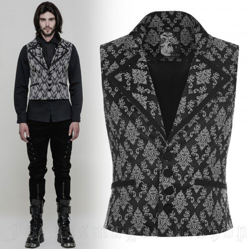 men's Westeros Vest by PUNK RAVE brand, code: WY-851/BK-WH