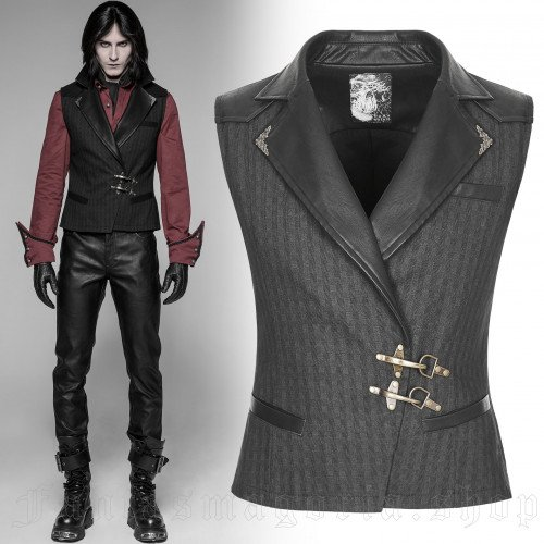 men's Coroner Vest by PUNK RAVE brand, code: WY-929/BK