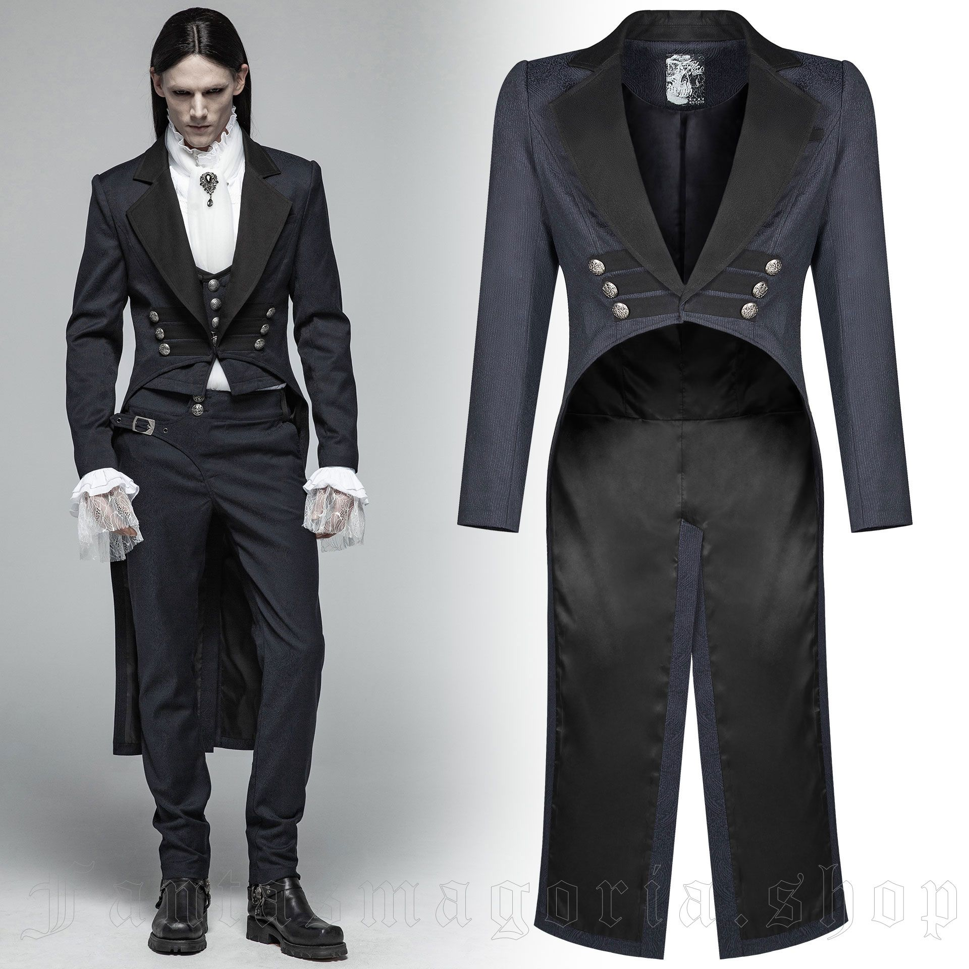 men's Hyacinthum Tenebris Tailcoat by PUNK RAVE brand, code: WY-993/BL