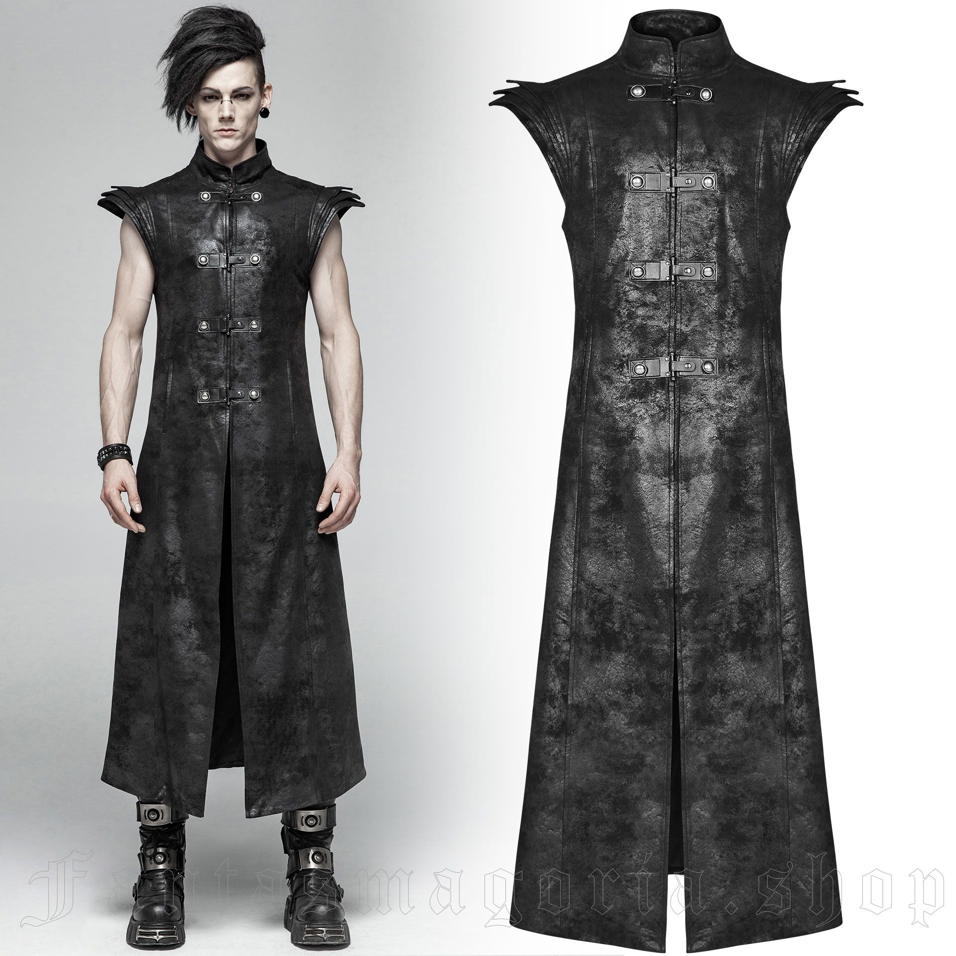 men's Sanctum Long Vest by PUNK RAVE brand, code: WY-1018