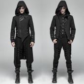 men's Black Dagger Coat by PUNK RAVE brand, code: WY-1028