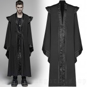 men's Black Pagoda Coat by PUNK RAVE brand, code: WY-1098
