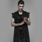 men's Black Pagoda Vest by PUNK RAVE brand, code: WY-1099