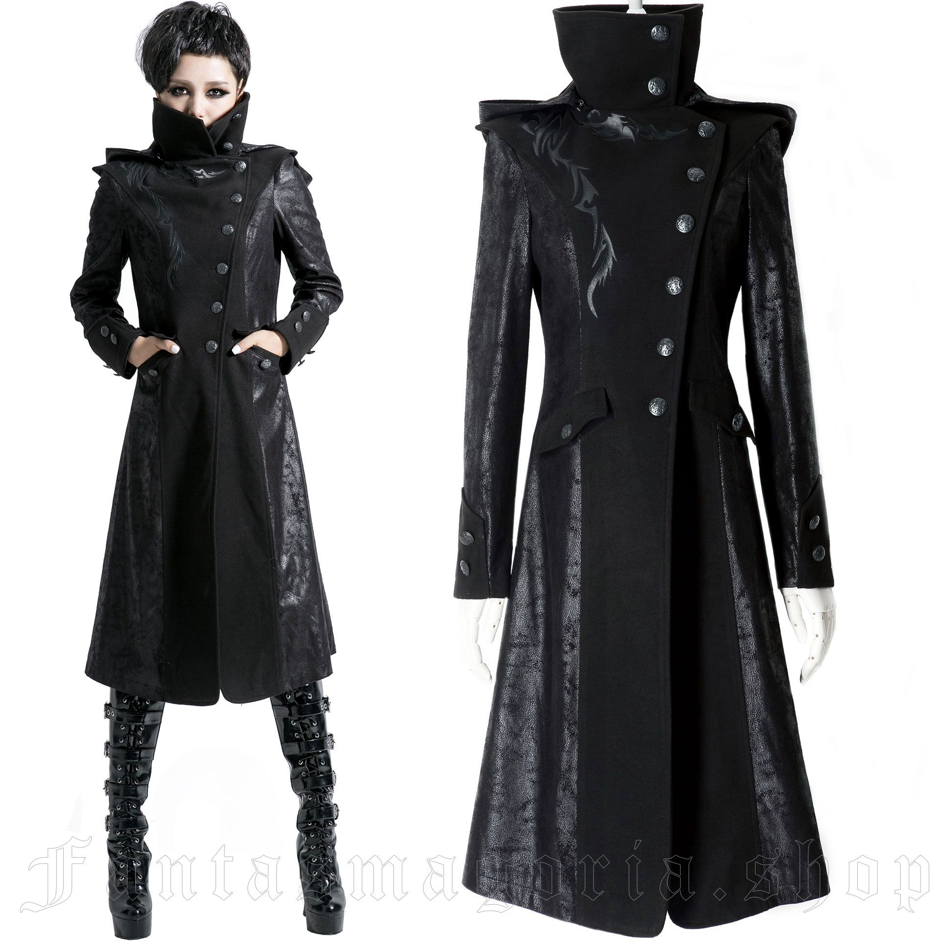 women's Black Dragon Coat by PUNK RAVE brand, code: Y-420/Female