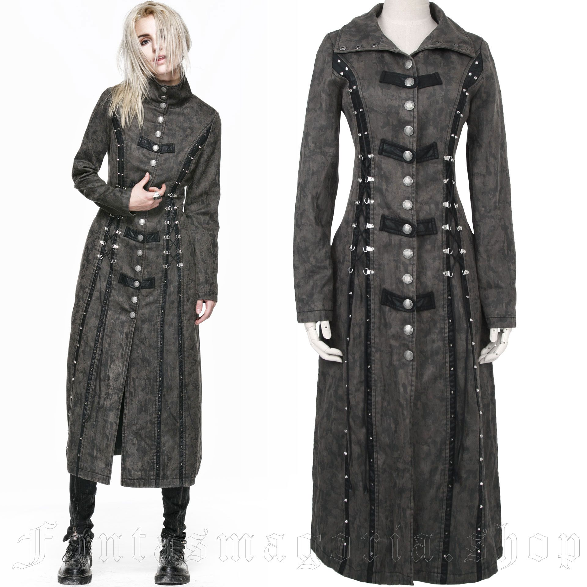 women's Nuclear Coma Coat by PUNK RAVE brand, code: Y-548/GY/Female
