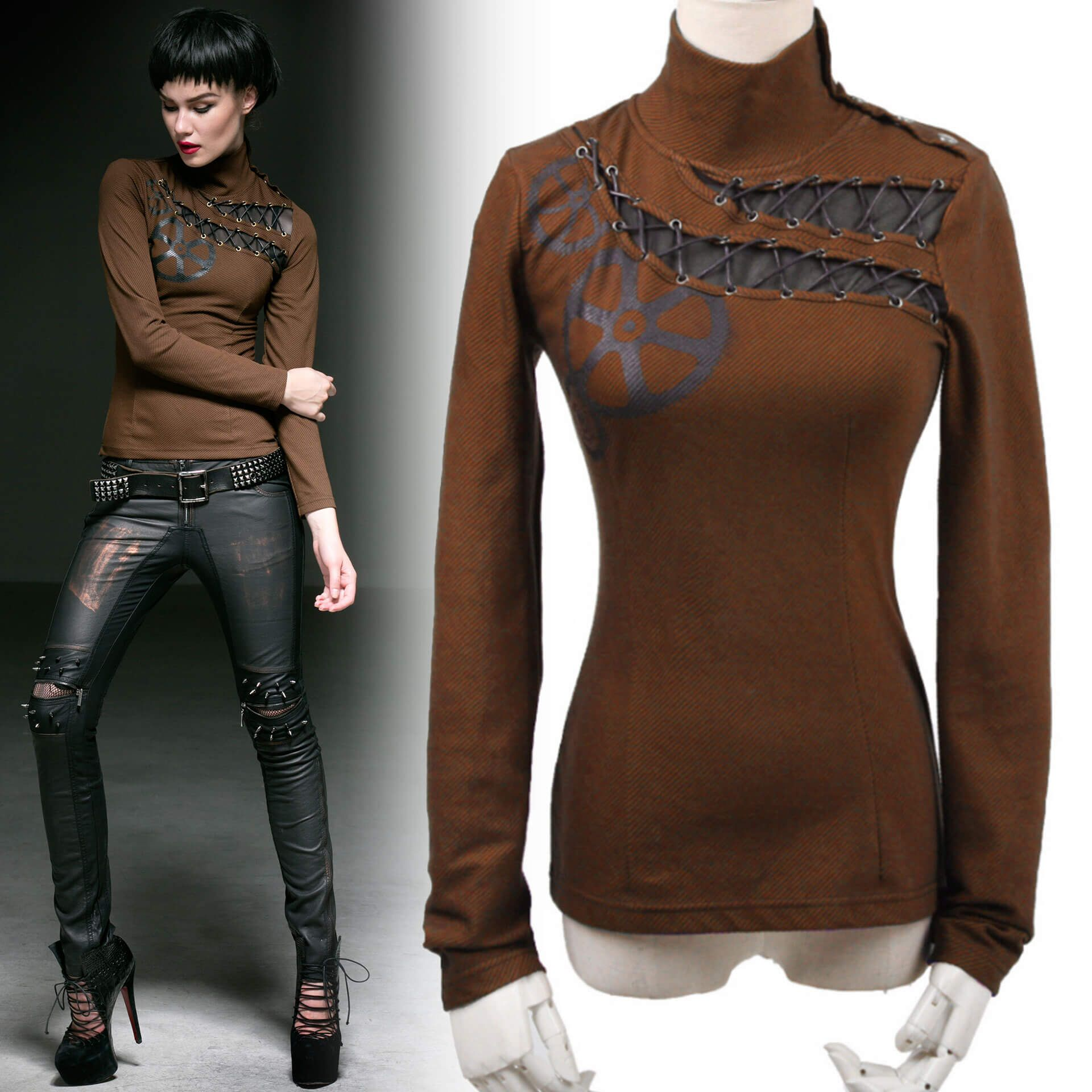 women's The Gears Top by PUNK RAVE brand, code: T-362/CO