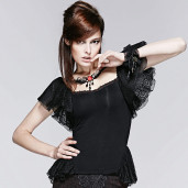 women's Black Moth Top by PUNK RAVE brand, code: T-391