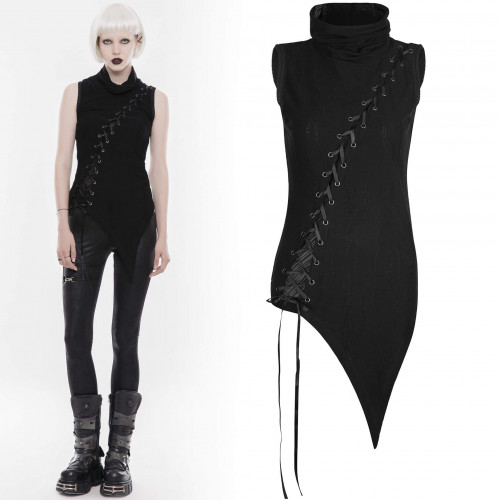 women's Black Harpy Sleeveless Top by PUNK RAVE brand, code: WT-501