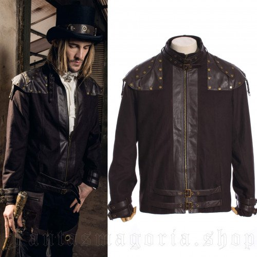 men's Steampunk Jacket by RQ-BL brand, code: SPM014/BK
