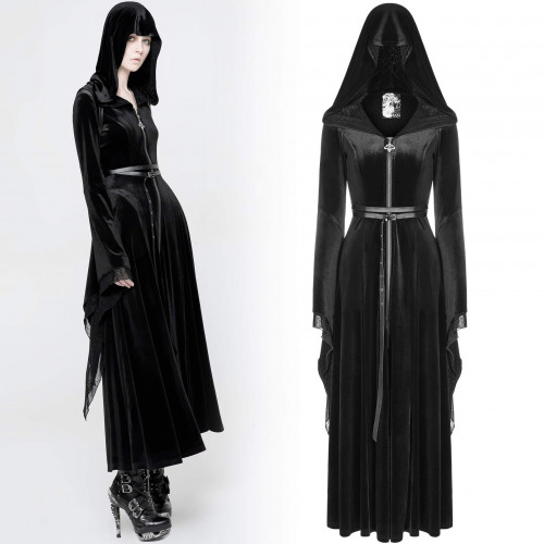 women's Black Votaress Robe by PUNK RAVE brand, code: WY-899