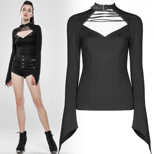 women's Black Lotus Top by PUNK RAVE brand, code: WT-595/BK