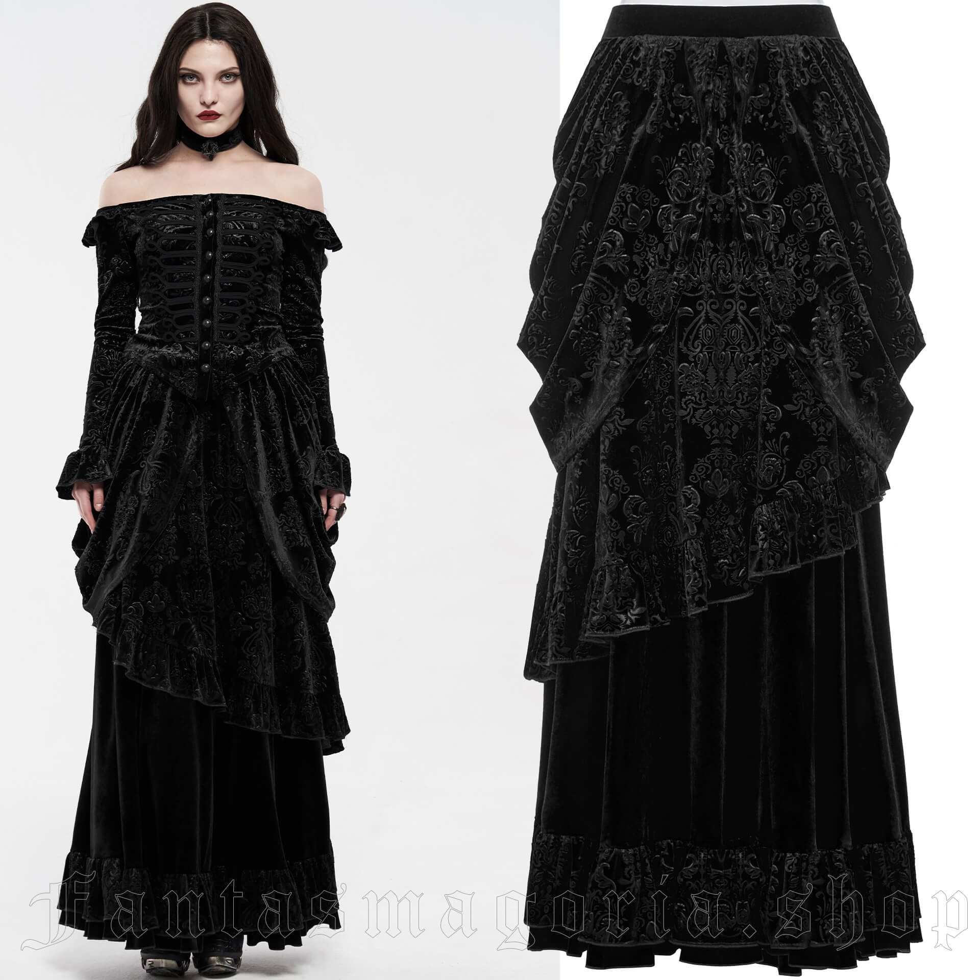women's Baroness Black Skirt by PUNK RAVE brand, code: WQ-486/BK