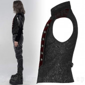 men's Silvanus Black/Red Waistcoat by PUNK RAVE brand, code: WY-1238/BK-RD