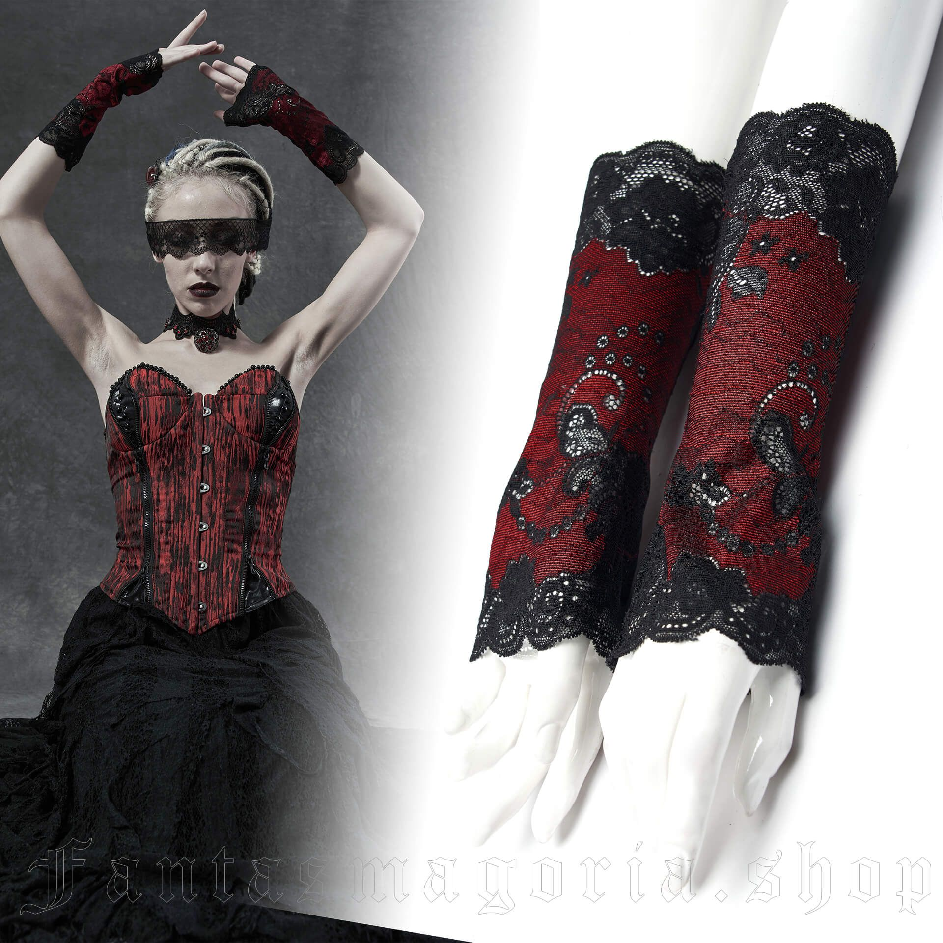 Versailles black/red gloves