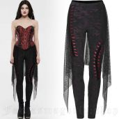 women's Minerva black&red leggings by PUNK RAVE brand, code: WK-424/BK-RD