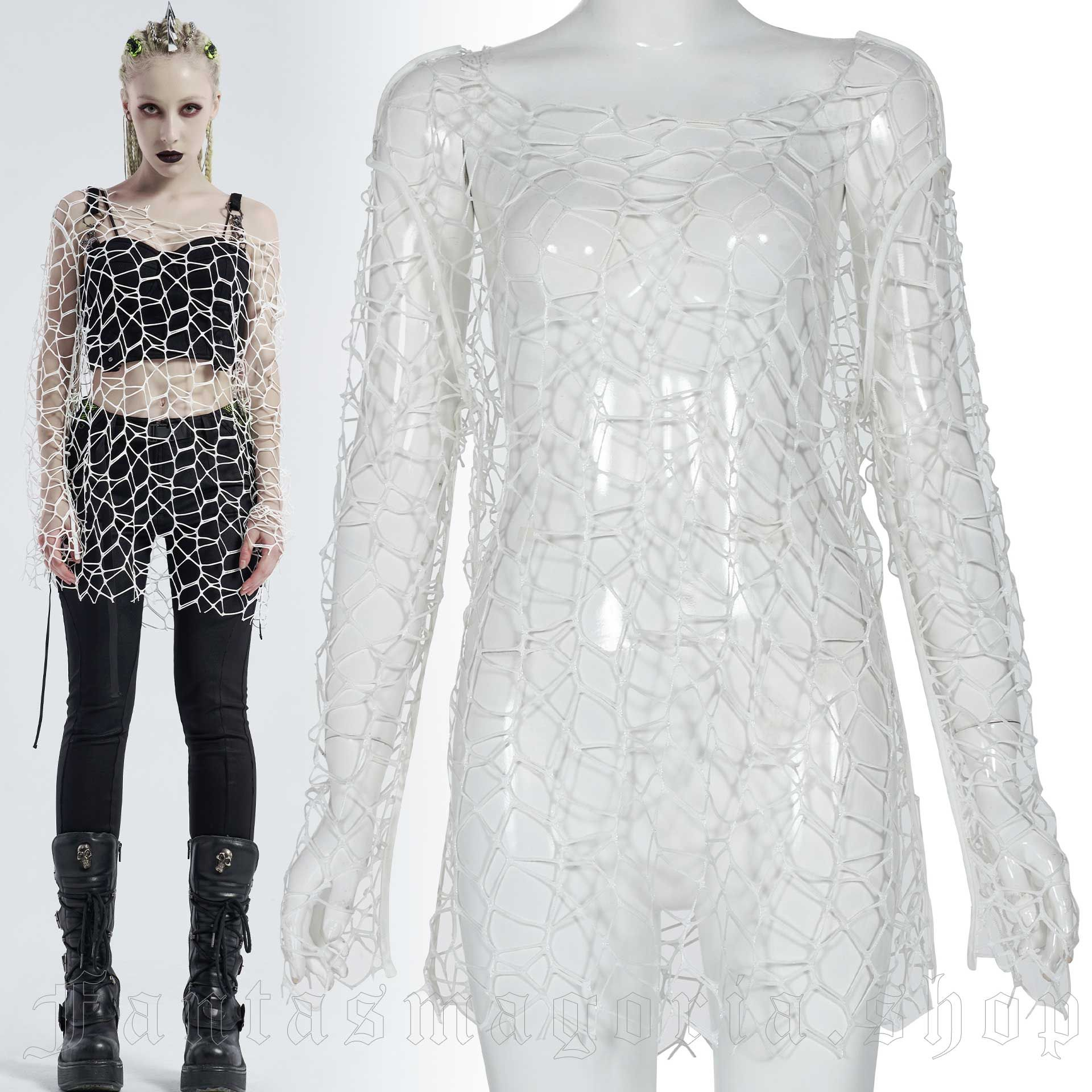 Cataclysm White Mesh Top