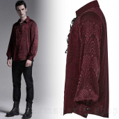 men's Melchior Red Shirt by PUNK RAVE brand, code: WY-1279/RD